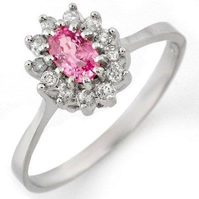 Genuine 0.60 ctw Pink Sapphire & Diamond Ring 14K White