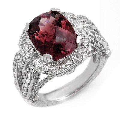 Genuine 8.50ctw Rubellite & Diamond Ring 14K White Gold