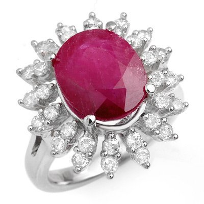 Genuine 7.21 ctw Ruby & Diamond Ring 14K White Gold