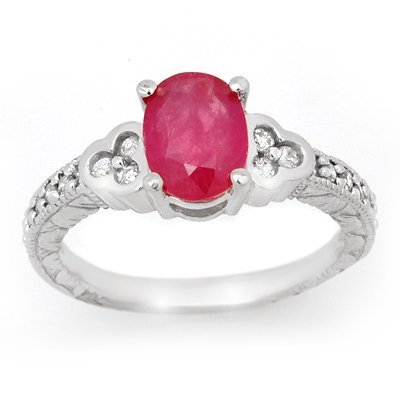 Genuine 2.31 ctw Ruby & Diamond Ring 14K White Gold