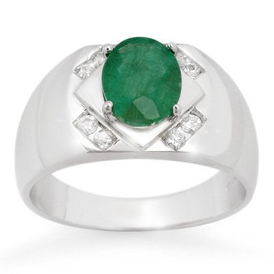 Genuine 2.30ct Emerald & Diamond Men's Ring White Gold