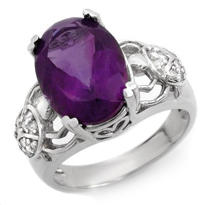 Genuine 6.20 ctw Amethyst & Diamond Ring 10K White Gold