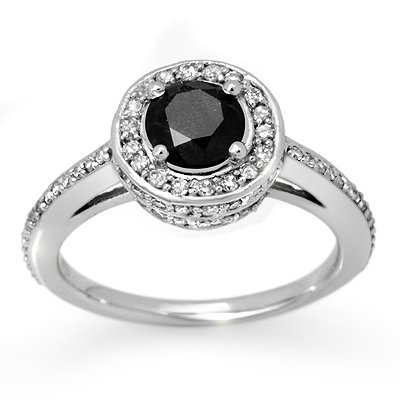 Natural 1.75 ctw Black Diamond Ring 14K White Gold