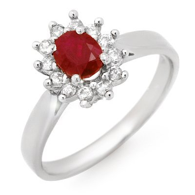 Genuine 0.70 ctw Ruby & Diamond Ring 14K White Gold