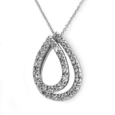 Natural 0.25 ctw Diamond Pendant 14K White Gold