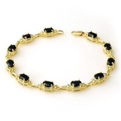 Genuine 7.33 ctw Sapphire Bracelet 10K Yellow Gold