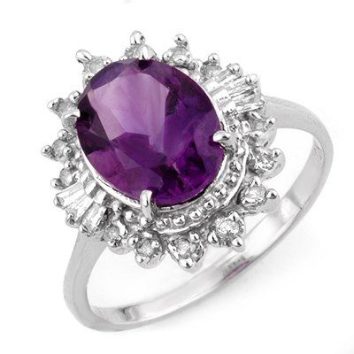 Genuine 345 ctw Amethyst  Diamond Ring 10K White Gold