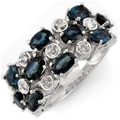 Genuine 420ctw Blue Sapphire  Diamond Ring White Gold
