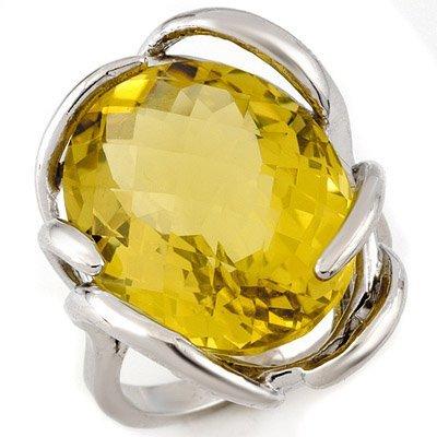 Genuine 20 ctw Lemon Topaz Ring 10K White Gold