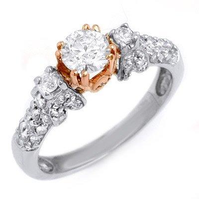Natural 1.0 ctw Diamond Ring 14K Multi tone Gold