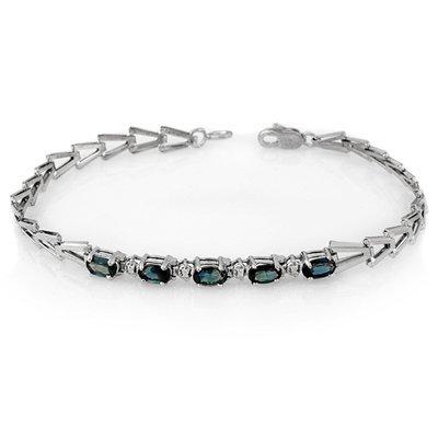 Genuine 2.0 ctw Blue Sapphire Bracelet 10K White Gold