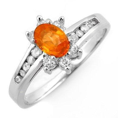 Genuine 1.08 ctw Orange Sapphire & Diamond Ring 10K Whi