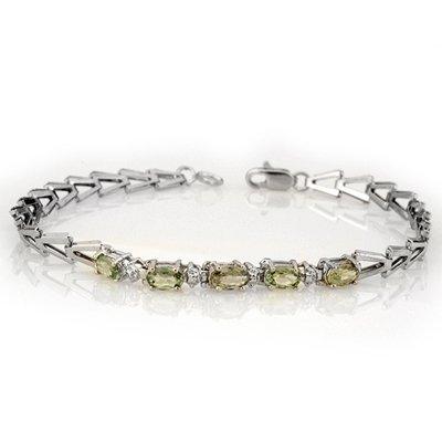 Genuine 2.0 ctw Green Sapphire Bracelet 10K White Gold