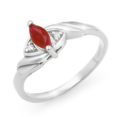 Genuine 0.26 ctw Ruby & Diamond Ring 10K White Gold