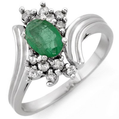 Genuine 0.80 ctw Emerald & Diamond Ring 10K White Gold