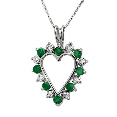 Genuine 0.80 ctw Emerald & Diamond Pendant White Gold