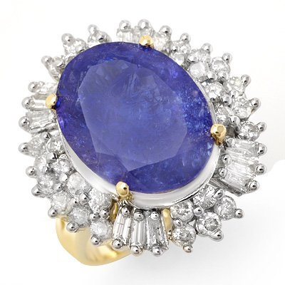 Genuine 12.75 ctw Tanzanite & Diamond Ring 14K Gold