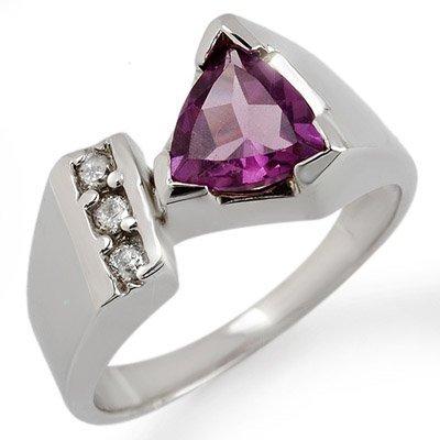 Genuine 1.0 ctw Amethyst & Diamond Ring 10K White Gold