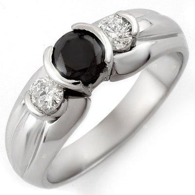 Natural 0.85 ctw White & Black Diamond Ring 10K Gold