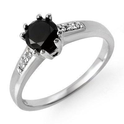 Natural 1.10 ctw White & Black Diamond Ring 14K Gold