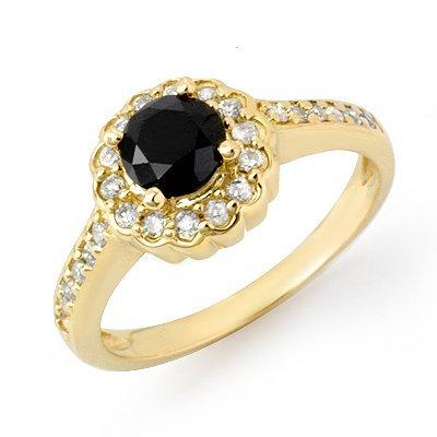Natural 1.0 ctw Black & White Diamond Ring 14K Yellow G