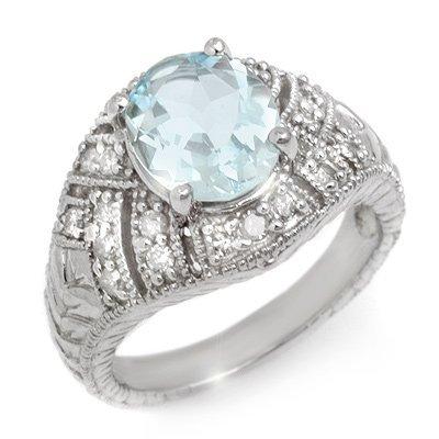 Genuine 3.6 ctw Aquamarine & Diamond Ring 14K Gold