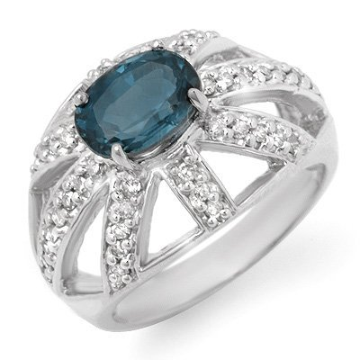 Genuine 1.90ctw Blue Sapphire & Diamond Ring White Gold