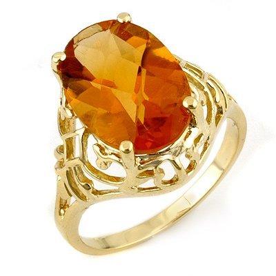 Genuine 6.50 ctw Citrine Ring 10K Yellow Gold