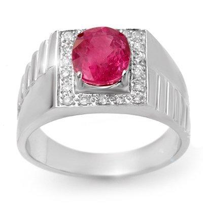 Genuine 3.25ctw Pink Sapphire & Diamond Men's Ring Gold