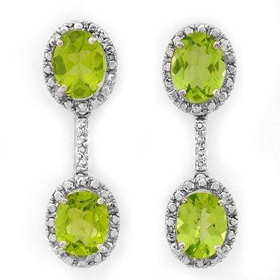 Genuine 8.10 ctw Peridot & Diamond Earrings White Gold