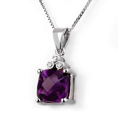 Genuine 3.06 ctw Amethyst & Diamond Necklace 10K Gold