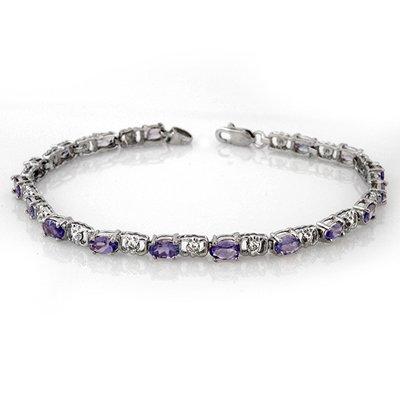 Genuine 4.02 ctw Tanzanite & Diamond Bracelet 14K Gold