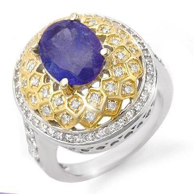 Genuine 4.3ct Tanzanite & Diamond Ring 14K 2tone Gold