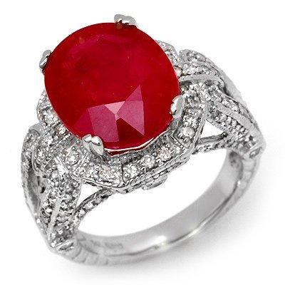 Genuine 10.5 ctw Ruby & Diamond Ring 14K White Gold