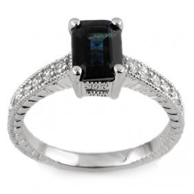 Genuine 2.65 Ctw Blue Sapphire & Diamond Ring 14K White