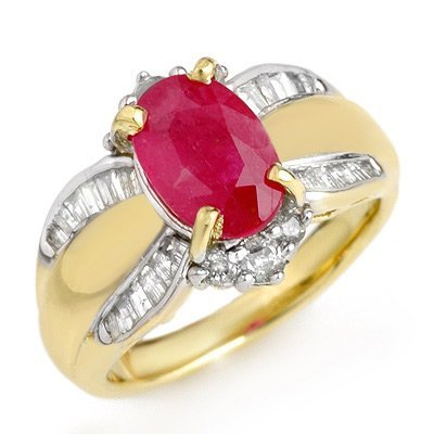 Genuine 3.01 ctw Ruby & Diamond Ring 14K Yellow Gold