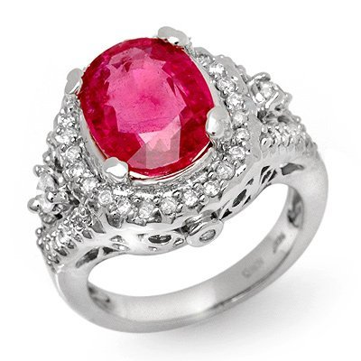 Genuine 6.15 ctw Ruby & Diamond Ring 14K White Gold