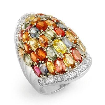 Genuine 15.5 ctw Multi-Sapphire & Diamond Ring 14K Gold