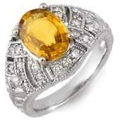 Genuine 36 ctw Yellow Sapphire  Diamond Ring 14K Gold