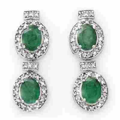 Genuine 5.75 ctw Emerald & Diamond Earrings 14K Gold