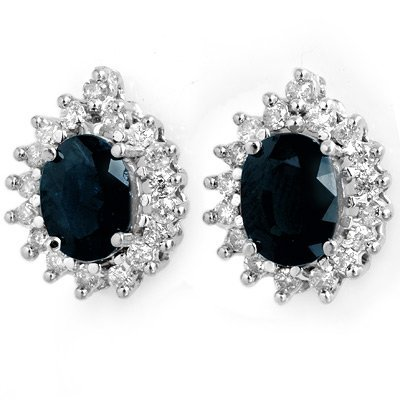 Genuine 3.87 ctw Sapphire & Diamond Earrings 14K Gold