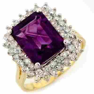 Genuine 4.75ctw Amethyst & Diamond Ring 14K Yellow Gold