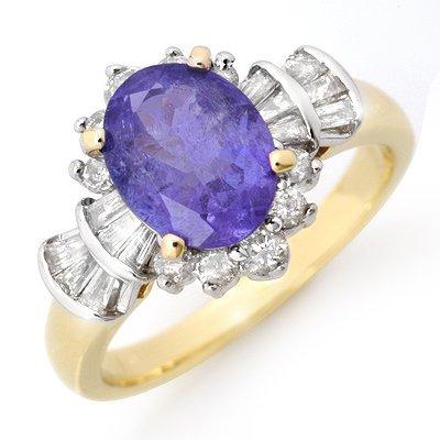 Genuine 2.90ct Tanzanite & Diamond Ring 14K Yellow Gold