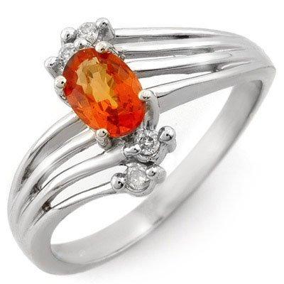 Genuine 0.80ctw Orange Sapphire & Diamond Ring 10K Gold