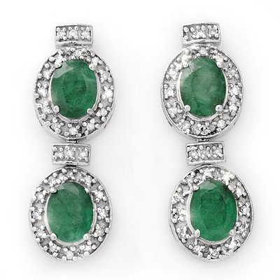 Genuine 5.75 ctw Emerald & Diamond Earrings 14K Gold