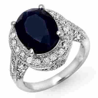Genuine 7.0 ctw Sapphire & Diamond Ring 14K White Gold