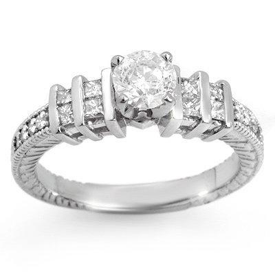 Natural 1.0 ctw Diamond Bridal Ring 14K White Gold