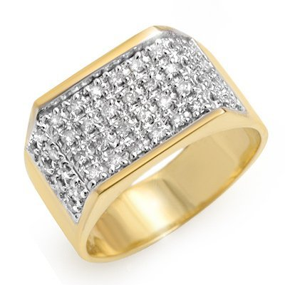 Natural 1.0 ctw Diamond Men's Ring 10K Yellow Gold