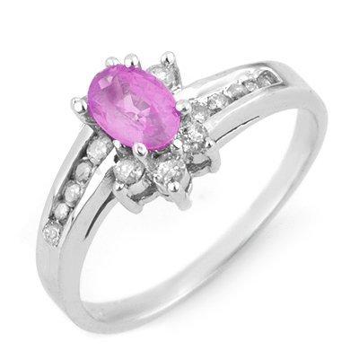 Genuine 1.05 ctw Pink Sapphire & Diamond Ring 14K White