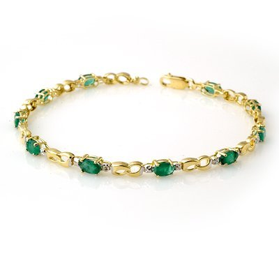 Genuine 2.76 ctw Emerald & Diamond Bracelet Yellow Gold